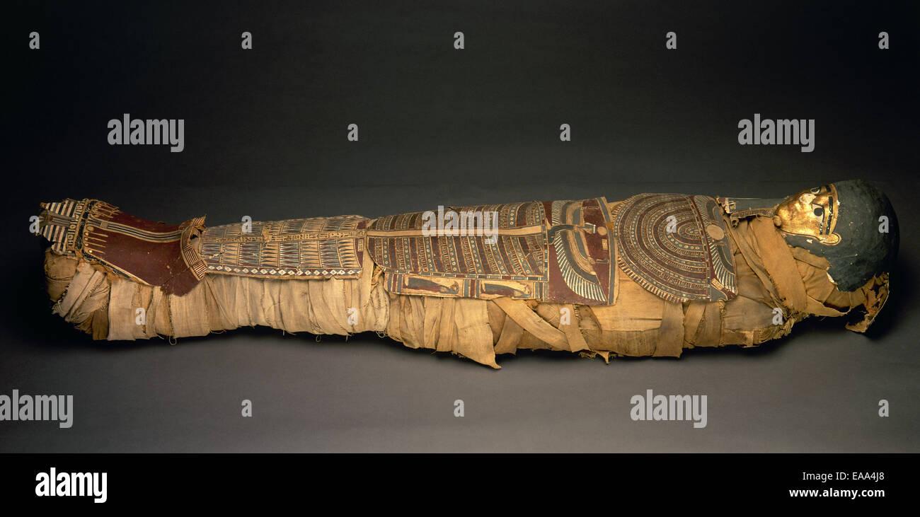 Egyptian mummy. National Archaeology Museum. Madrid. Spain. - Stock Image
