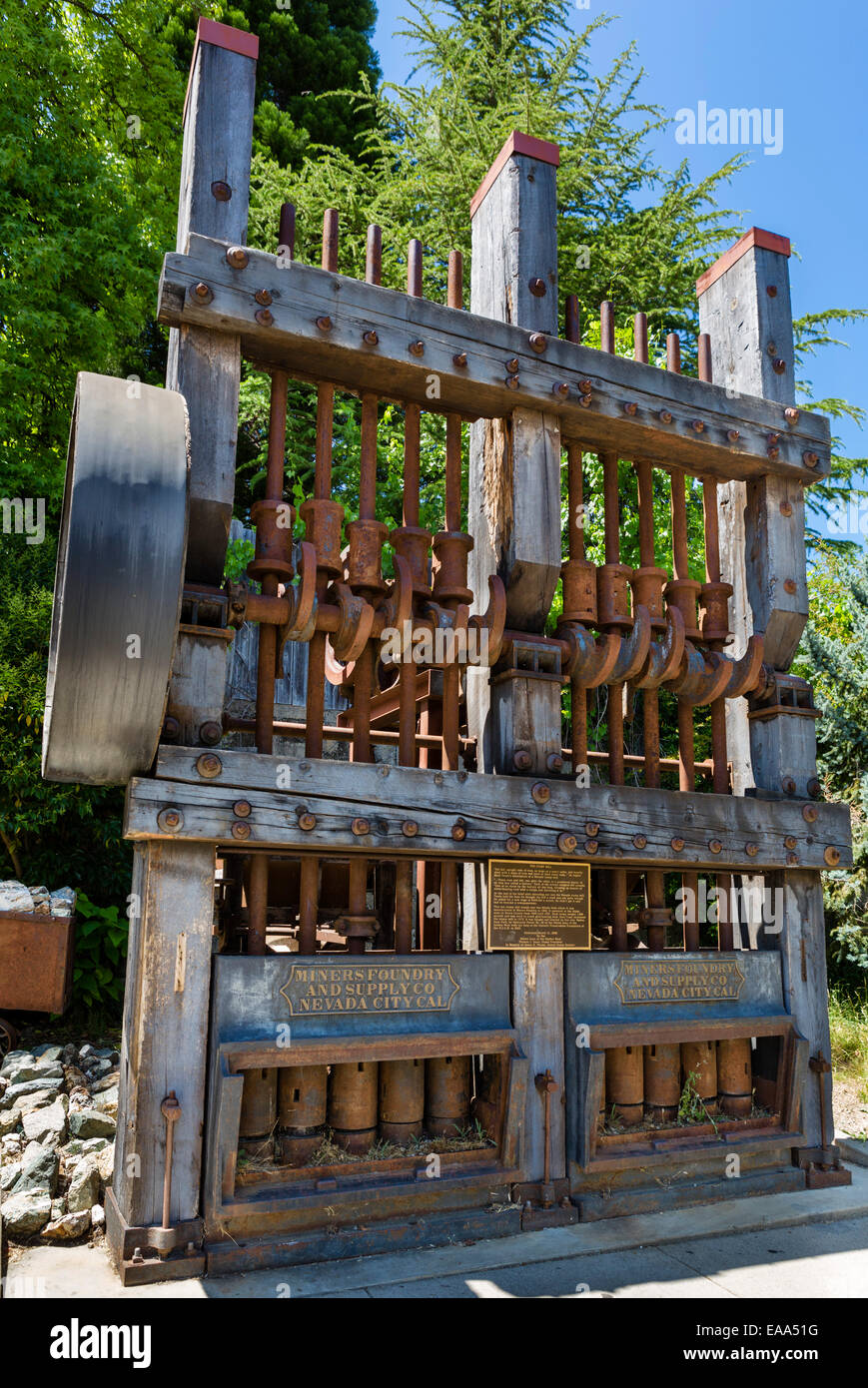 An old 10 Stamp Mill, used in gold mining, Nevada City, Northern Gold Country, California, USA - Stock Image