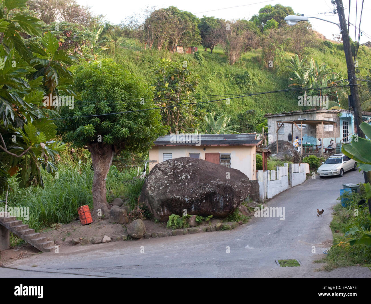 small village in Caribbean island nation - Stock Image