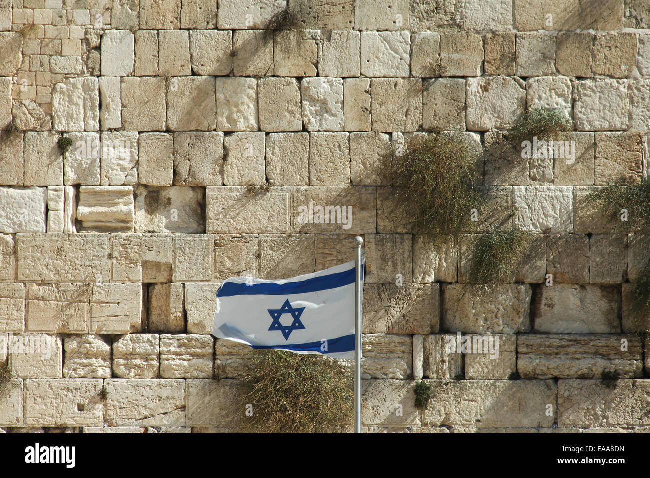 Stones of the wailing wall in Jerusalem - Stock Image