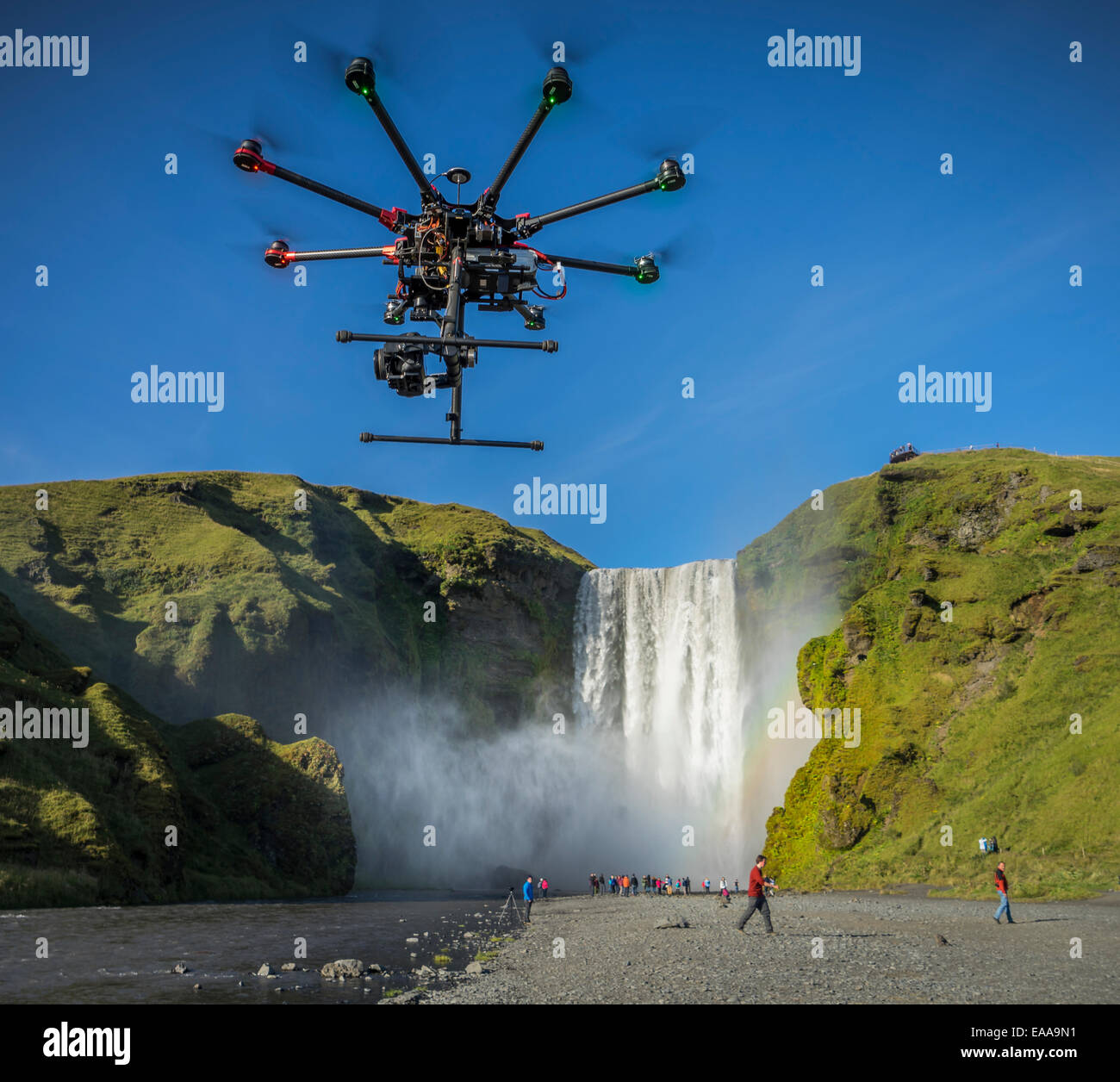 DJI S1000, Radio Controlled Drone flying with a camera, Skogafoss Waterfalls, Iceland - Stock Image