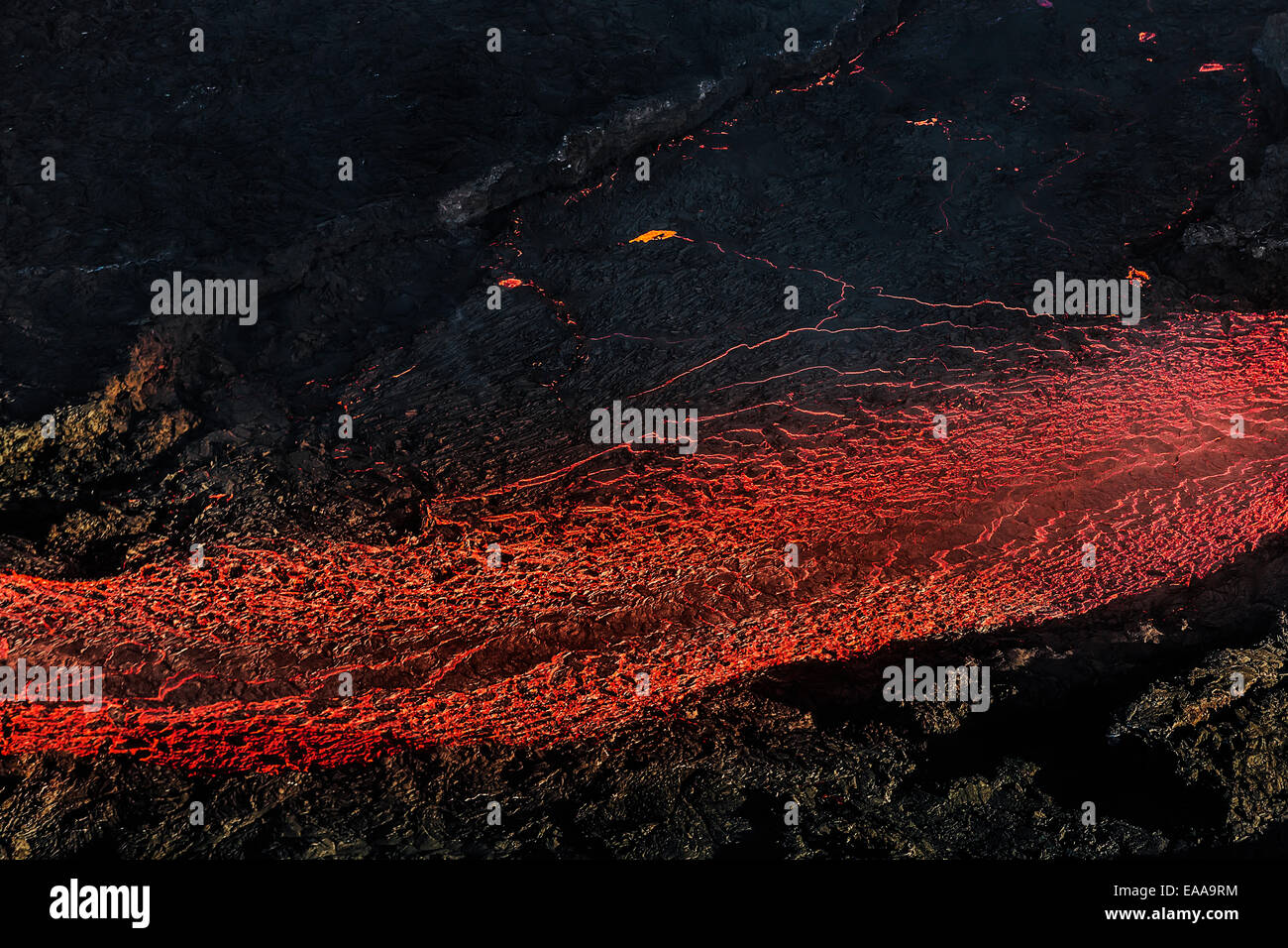 Aerial view of lava flowing, Holuhraun Fissure Eruption, Bardarbunga Volcano, Iceland Stock Photo