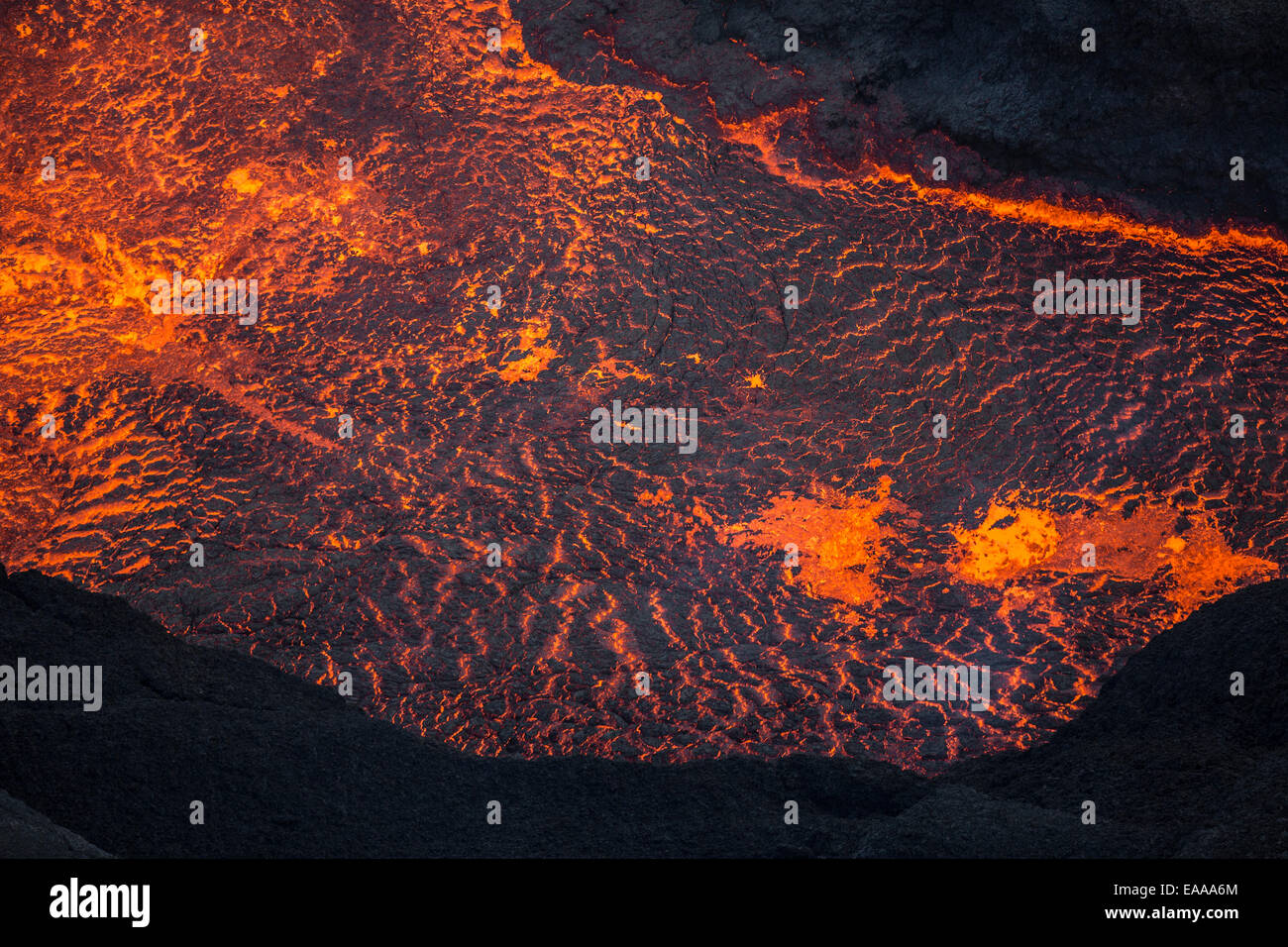 Aerial view of flowing lava, Holuhraun Fissure Eruption, Bardarbunga Volcano, Iceland Stock Photo