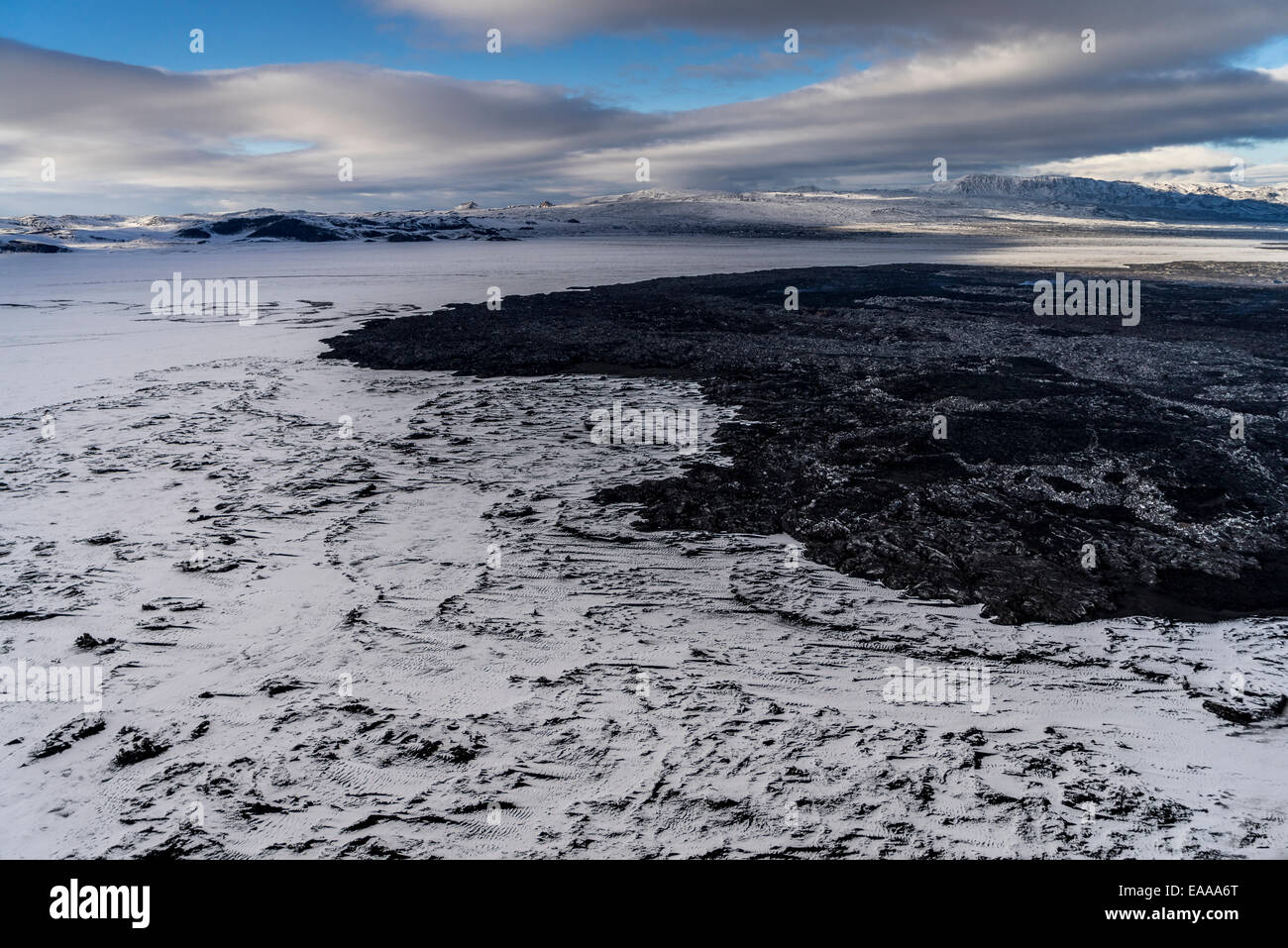 Snow covered lava from the Holuhraun Fissure Eruption, Bardarbunga, Iceland - Stock Image