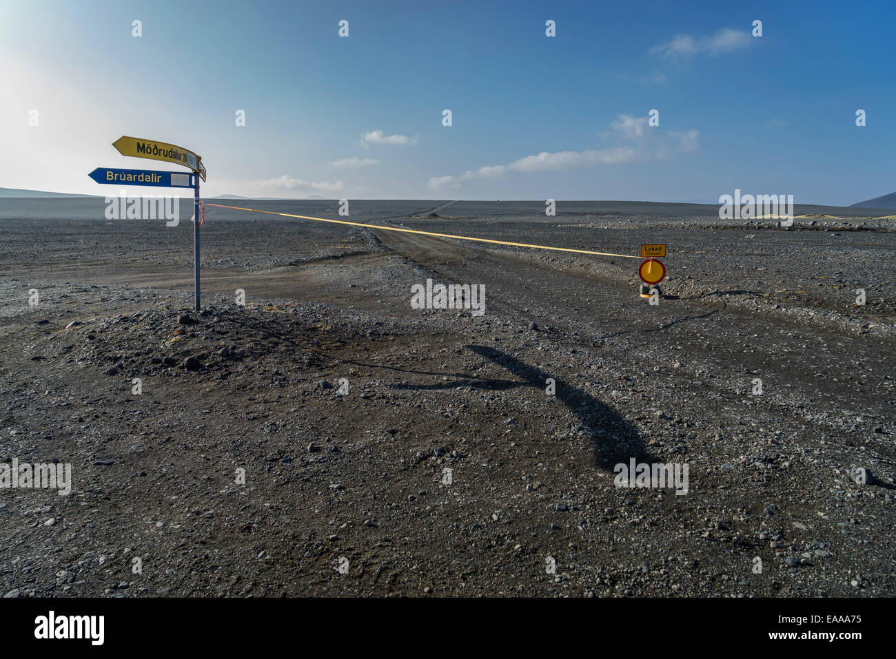 Dirt road closed to the site of the Holuhraun Fissure Eruption, Bardarbunga Volcano, Iceland - Stock Image