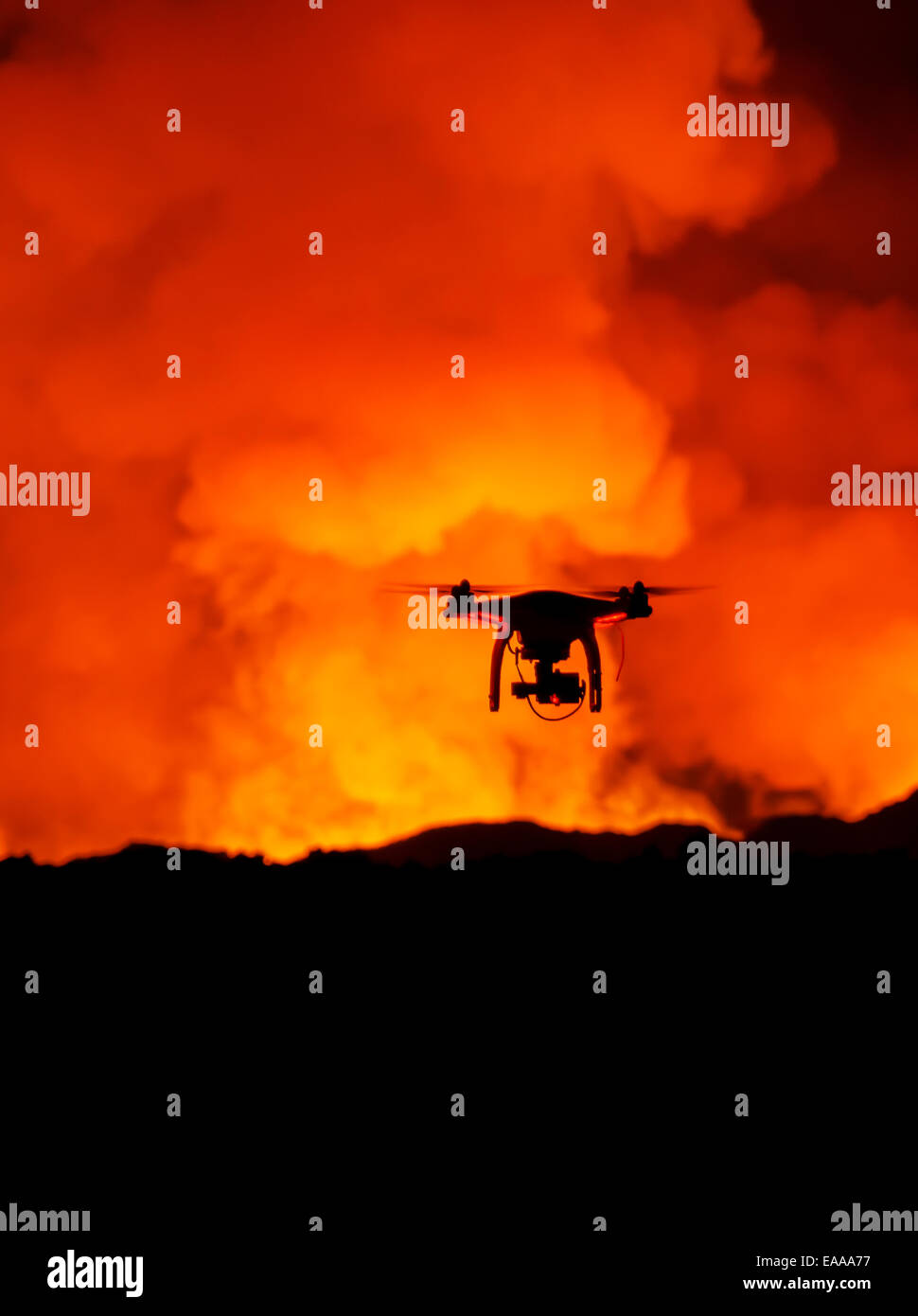DJI Phantom 2 with GoPro, flying by the Holuhraun Fissure Eruption. - Stock Image