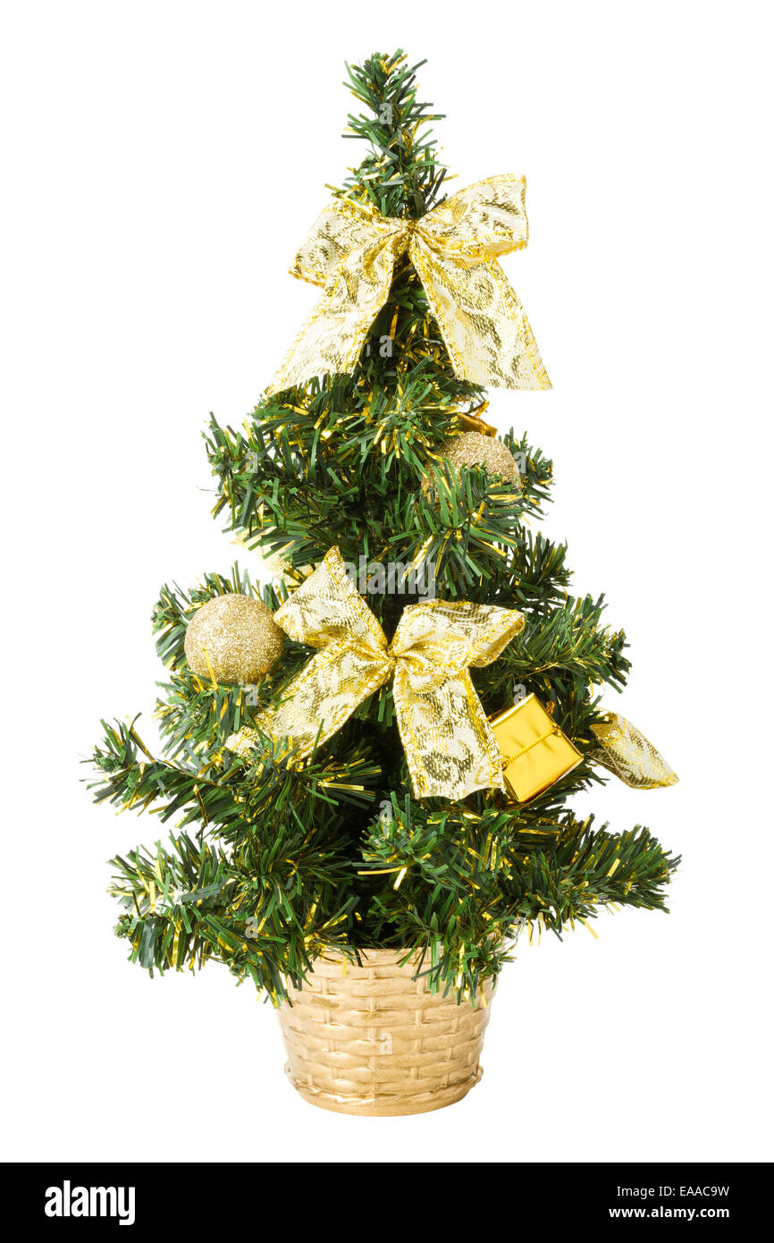 Christmas Tree Bows White.Small Christmas Tree With Gifts Bows And Balls On White