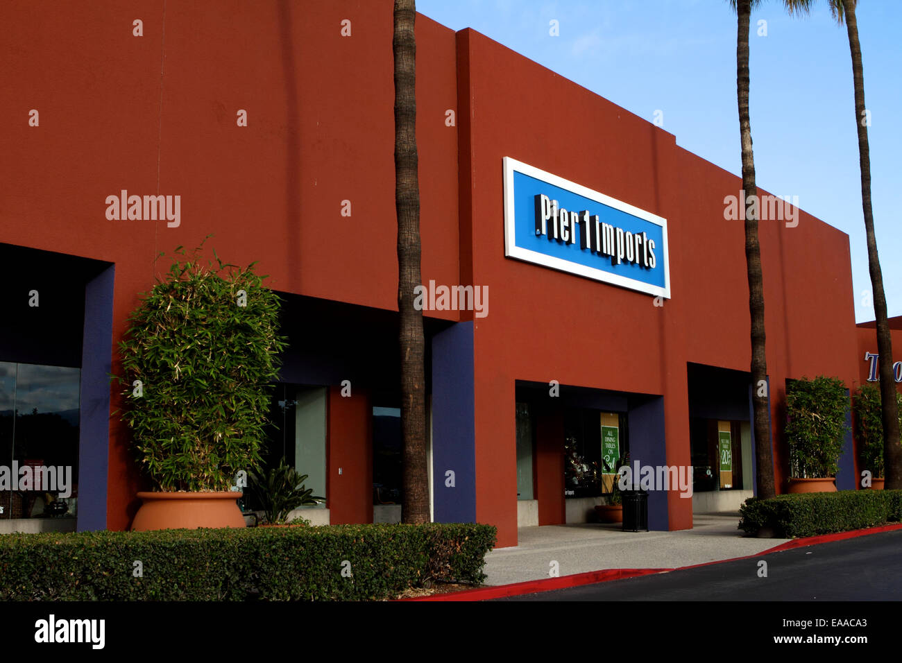 Pier 1 imports Exterior storefront sign and logo in Tustin California USA - Stock Image