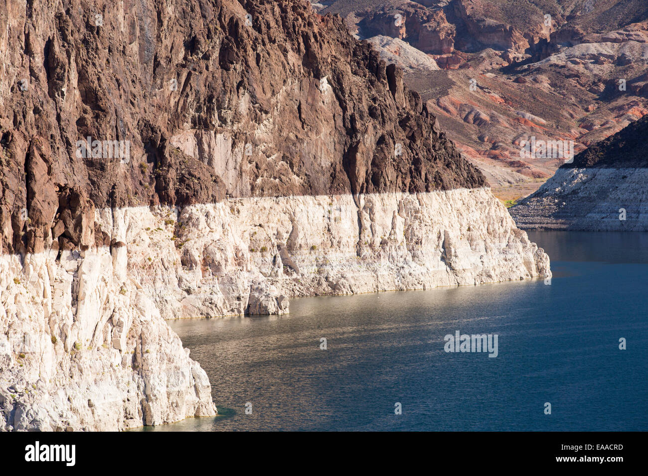 Lake Mead, Nevada, USA. The lake is at a very low level due to the four year long drought, with the boundary of Stock Photo