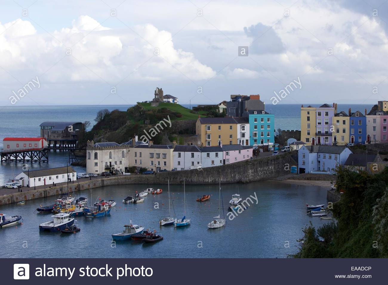Tenby Harbour and Old Town Pembrokeshire South Wales - Stock Image
