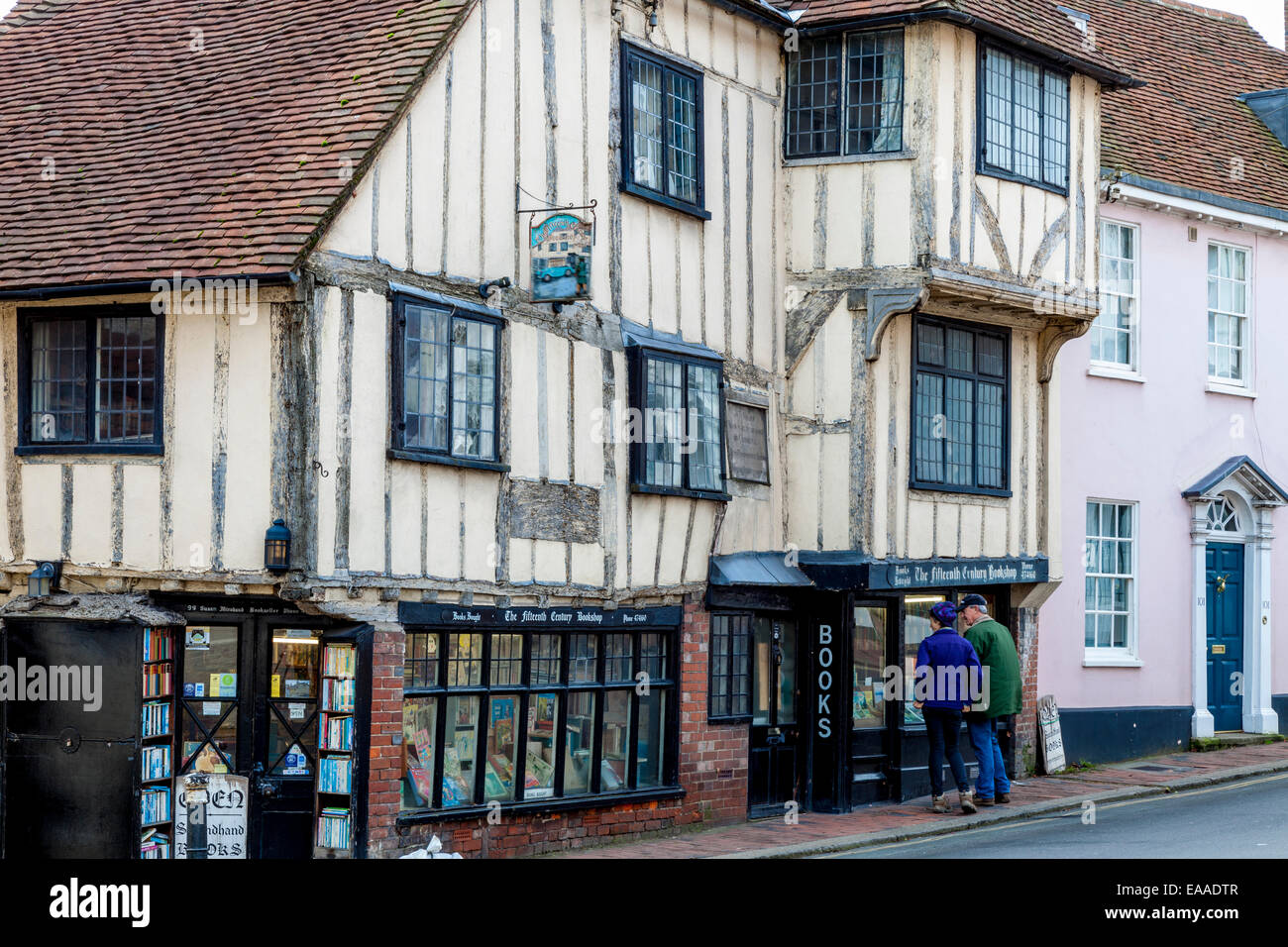 The Fifteenth Century Bookshop, High Street, Lewes, Sussex, England - Stock Image