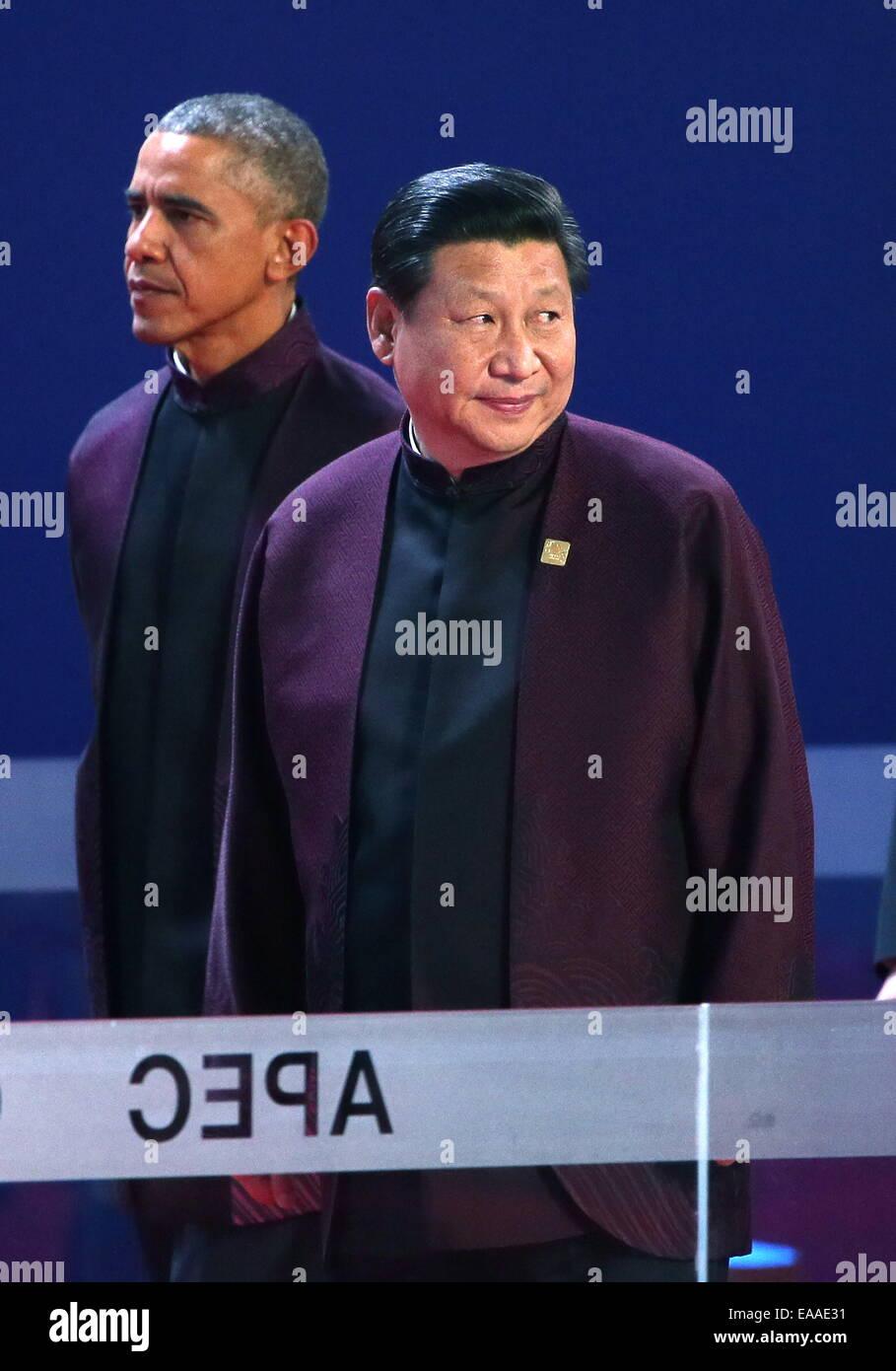 Beijing, China. 10th Nov, 2014. U.S. president Barack Obama (L) and China's president Xi Jinping seen ahead - Stock Image