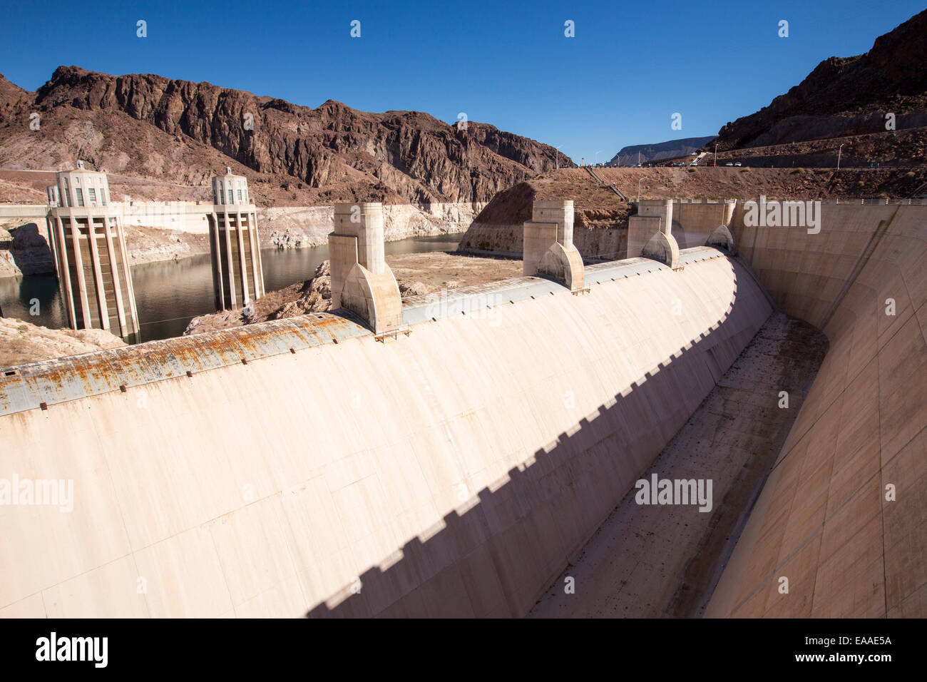 The overspill, standing high and dry at the Hoover Dam on Lake Mead, Nevada, USA, following a four year long drought. Stock Photo