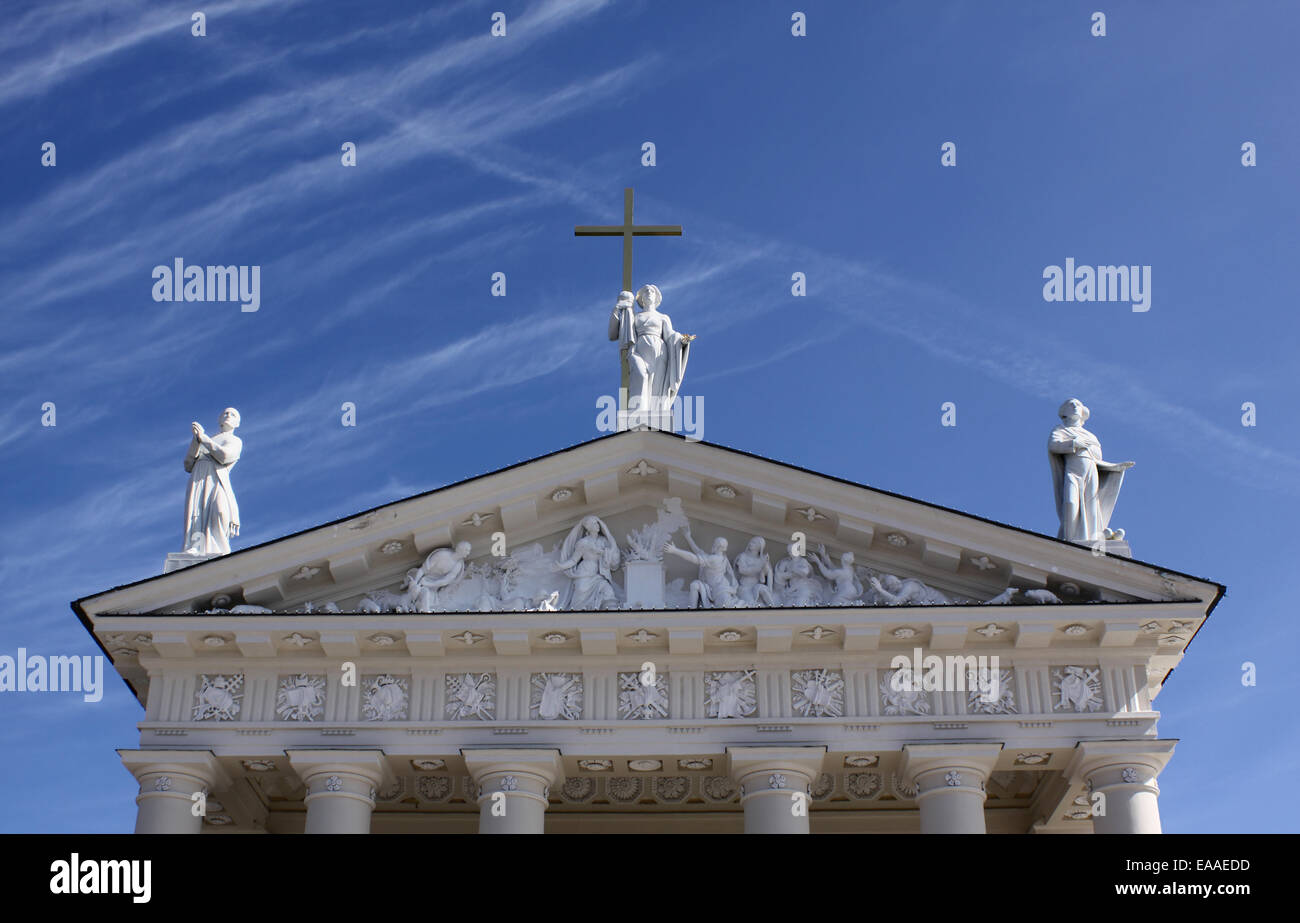 Three statues of the saints on the Vilnius cathedral, Lithuania - Stock Image