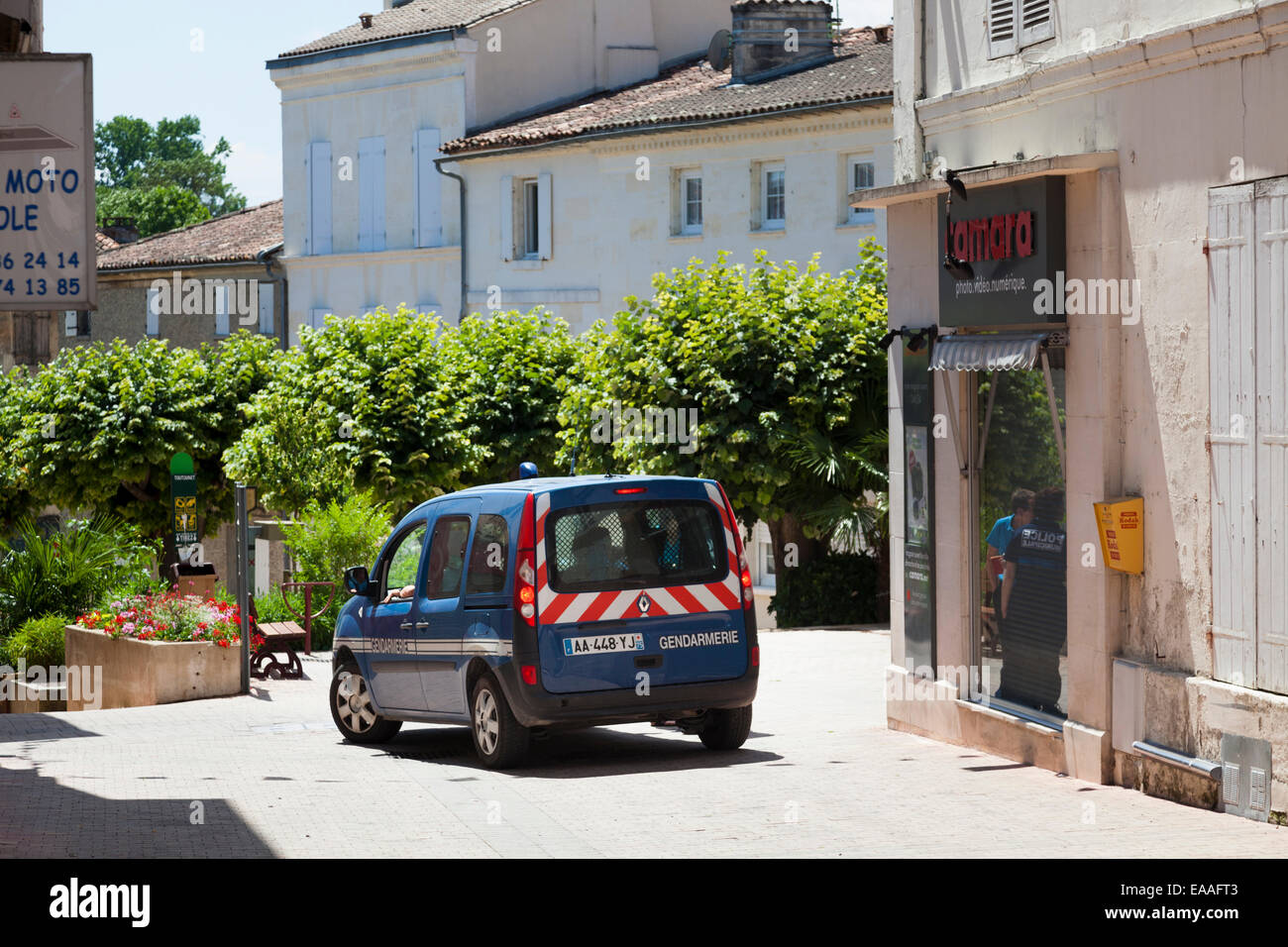 Gendarmerie French police van on quiet city street - Stock Image