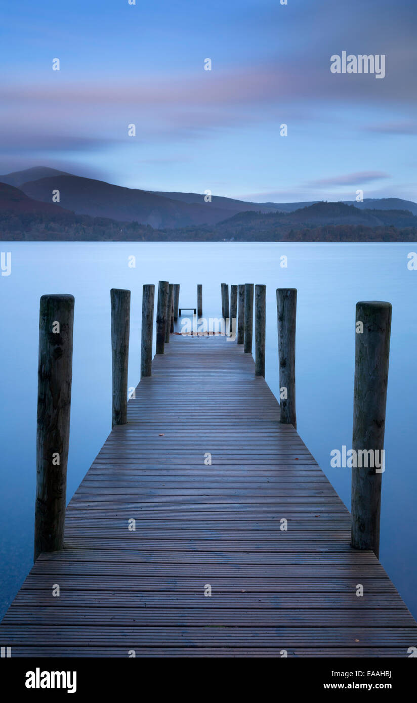 Lake Derwent Water in Cumbria, photographed in November 2014 - Stock Image