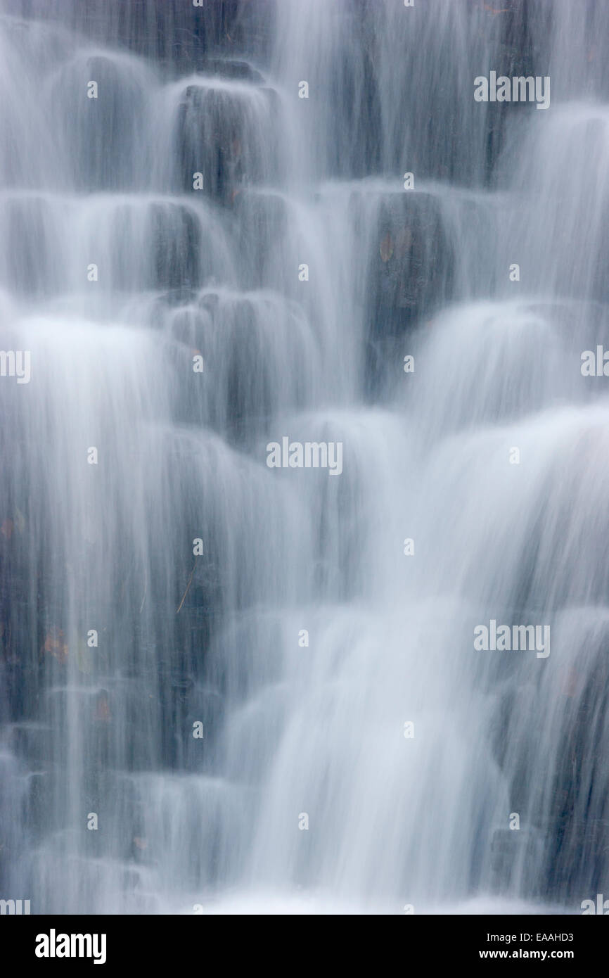 Close-up of Falling Foss waterfall in Sneaton Forrest, near Whitby on the North Yorkshire Moors. - Stock Image