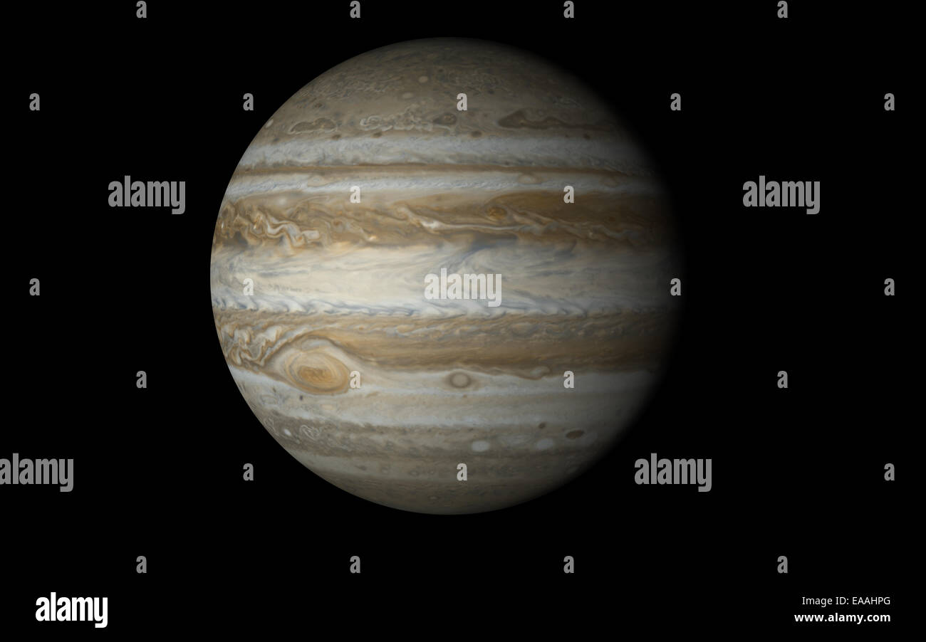 Jupiter isolated in black - Stock Image