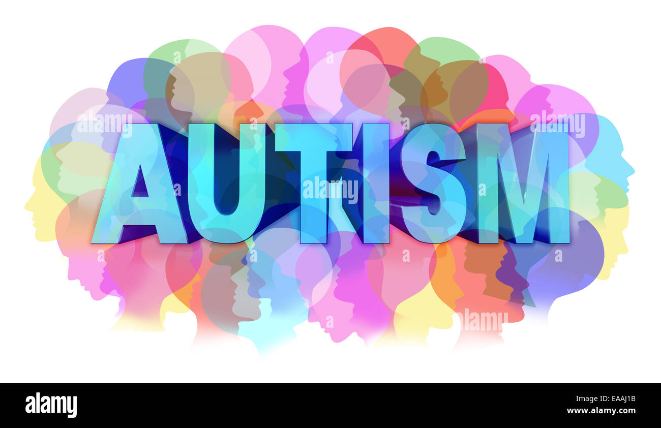 Autism diagnosis and autistic disorder concept or ASD concept as a group of human faces showing the color specrtrum Stock Photo