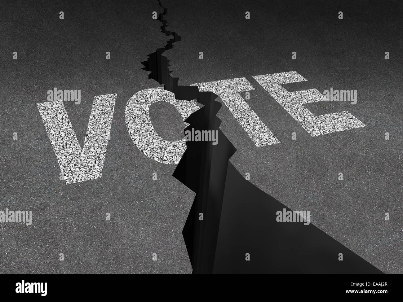 Divided vote concept and split opinion symbol as cracked outdoor asphalt floor with road painted text as a democratic - Stock Image