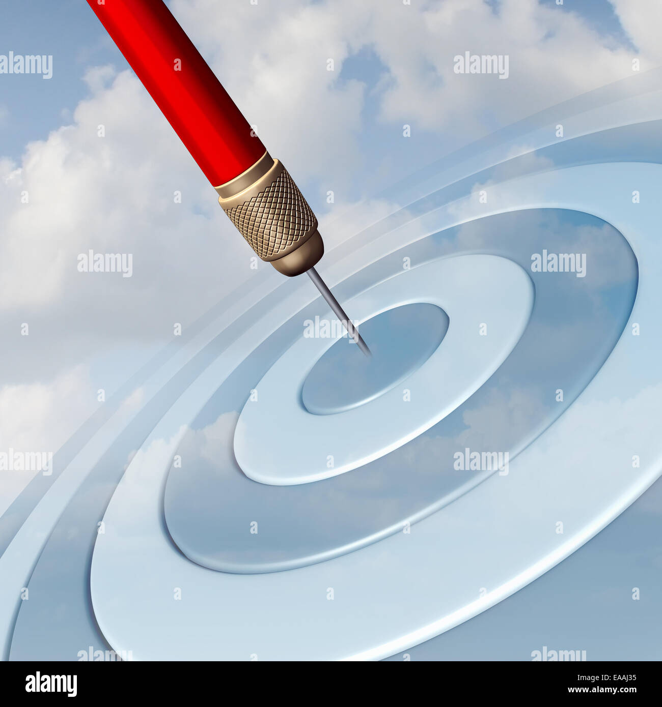 Target Marketing business concept as a red dart hitting the center of a dartboard image in the sky as a success - Stock Image