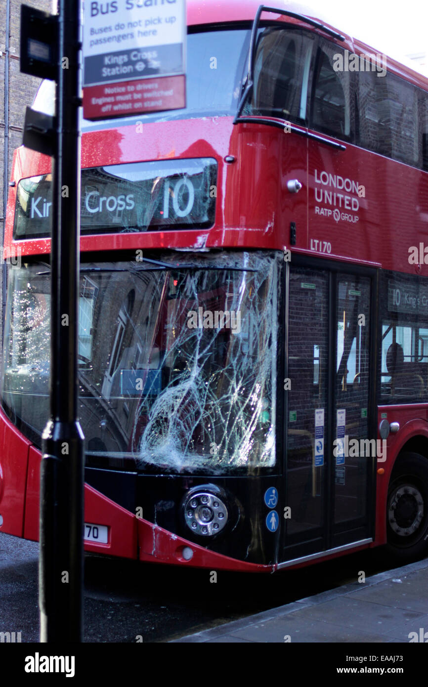 smashed windscreen on a new London Routemaster bus - Stock Image