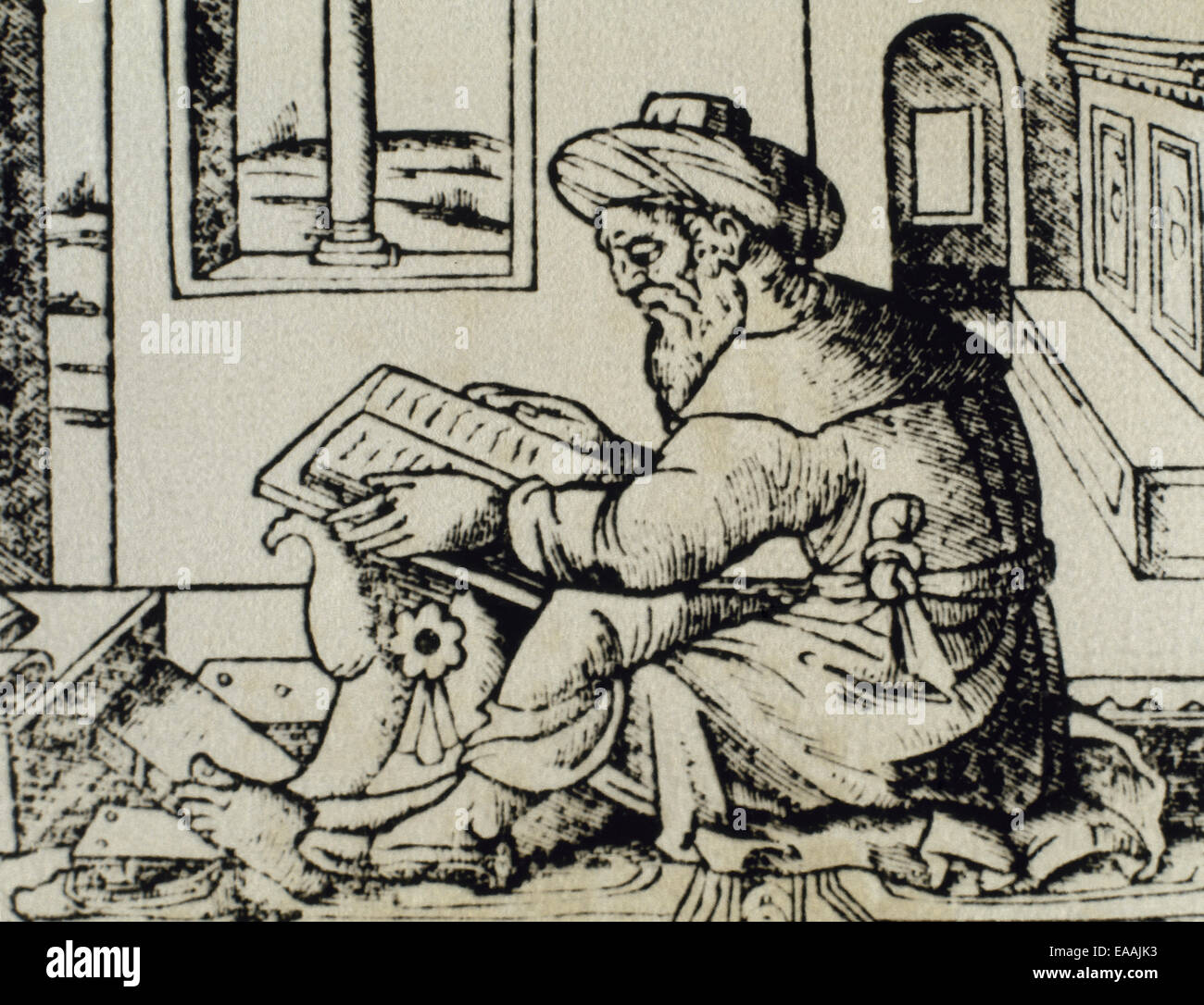 Averroes (1126-1198). Ibn Rushd. Medieval Andalusian Muslim polymath. Portrait. Averroes in his studio. Engraving. Stock Photo
