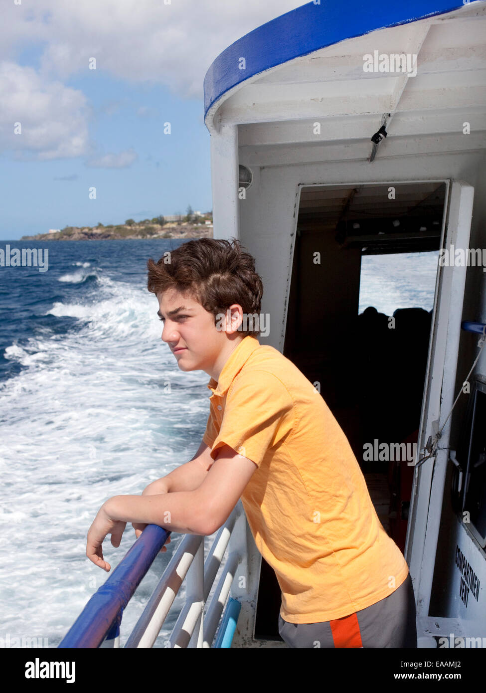 kid on ferry crossing - Stock Image