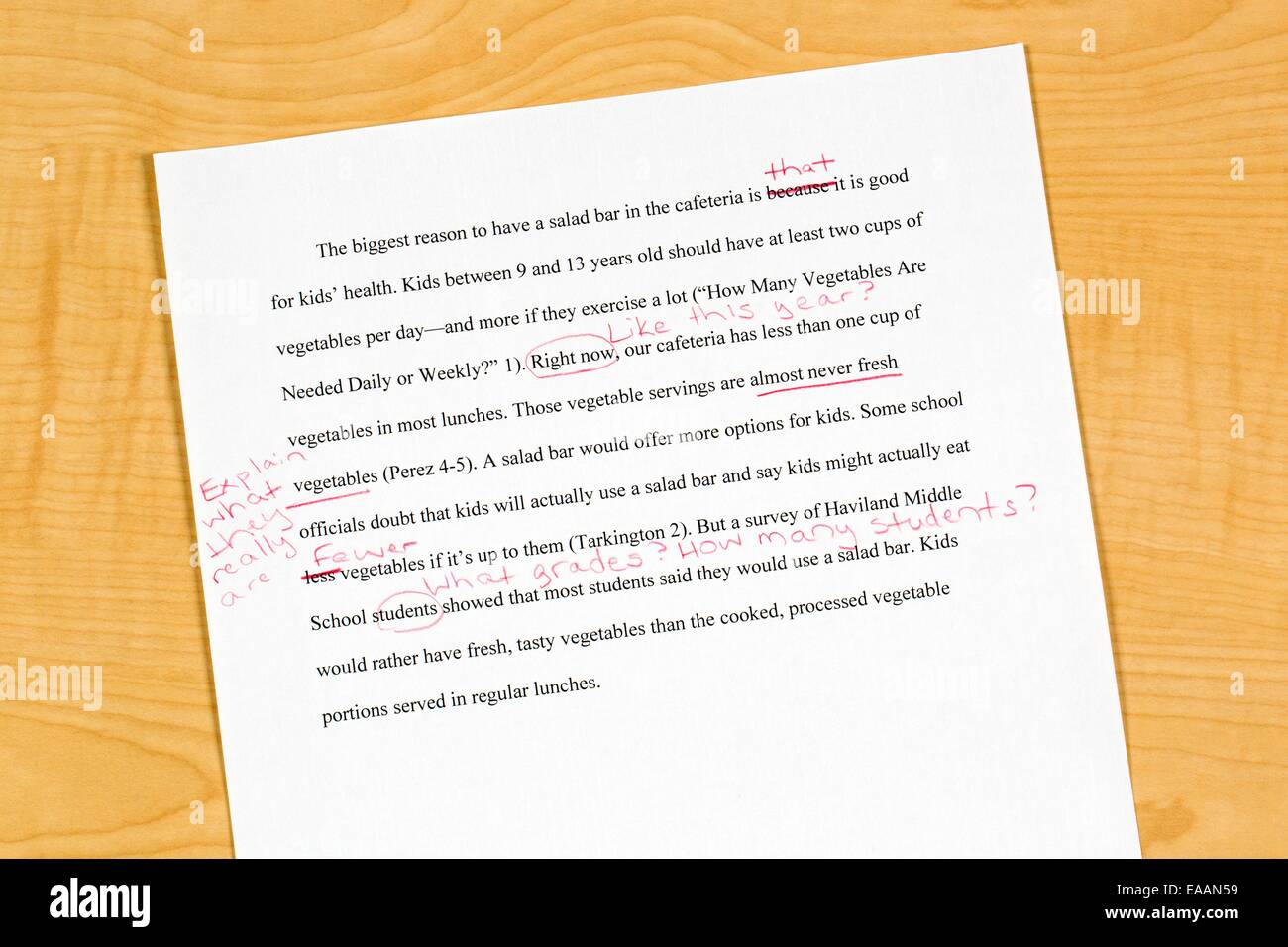 A reviewed draft of a school research paper with critical remarks and suggestions for improvement - Stock Image