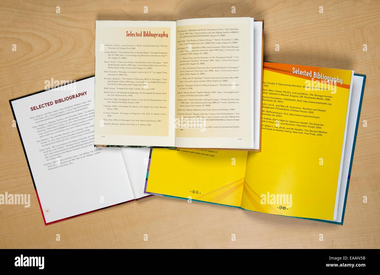 Three Lerner Publishing Group books showing selected bibliographies - Stock Image