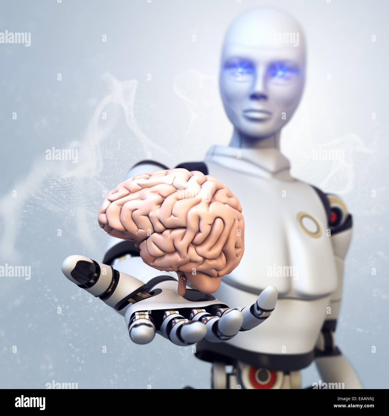 Robot is giving the brain - Stock Image