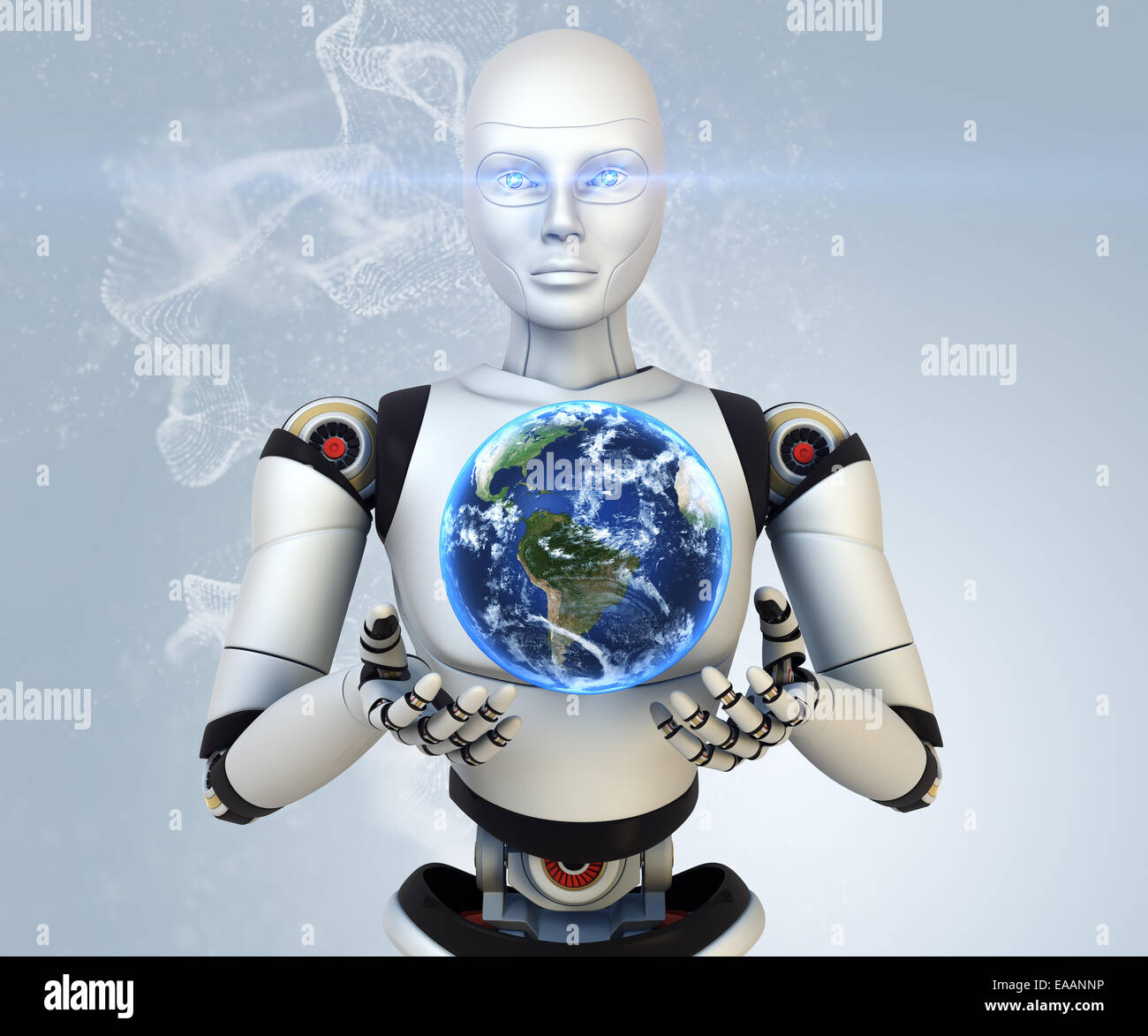 Cyborg is holding Earth in his hands - Stock Image