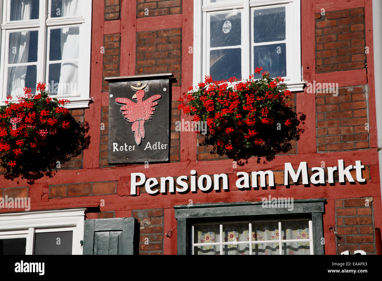 Pension at market square, Werben / Elbe, Altmark, Sachsen-Anhalt, Germany, Europe - Stock Image