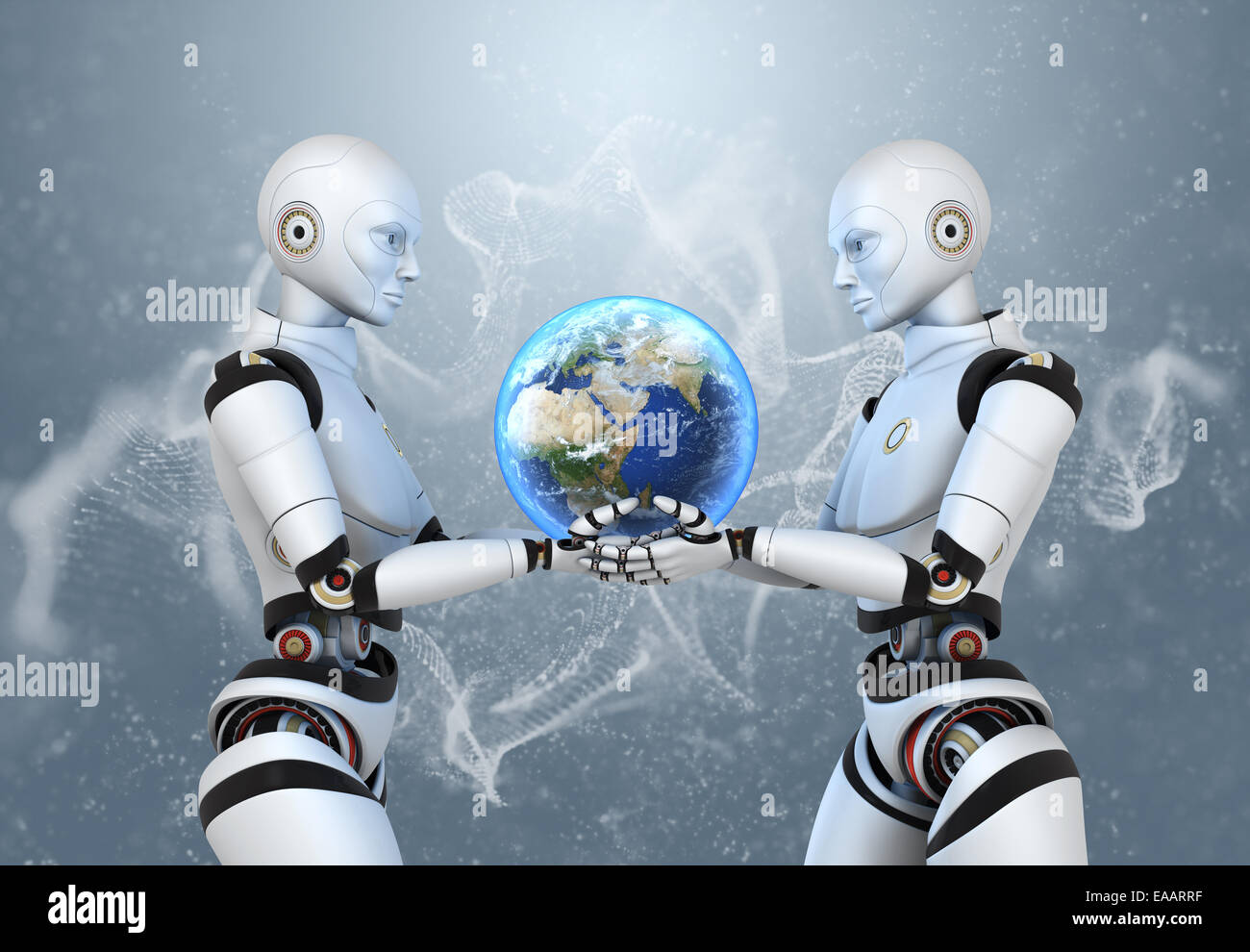 Two cyborgs holding the Earth in their hands - Stock Image