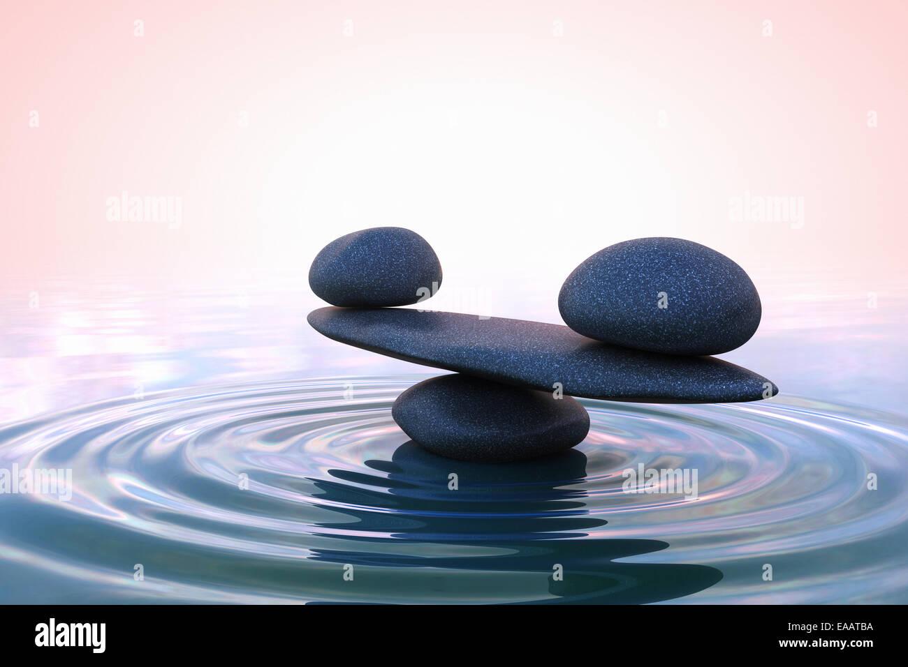 Zen stones. Sunrise - Stock Image