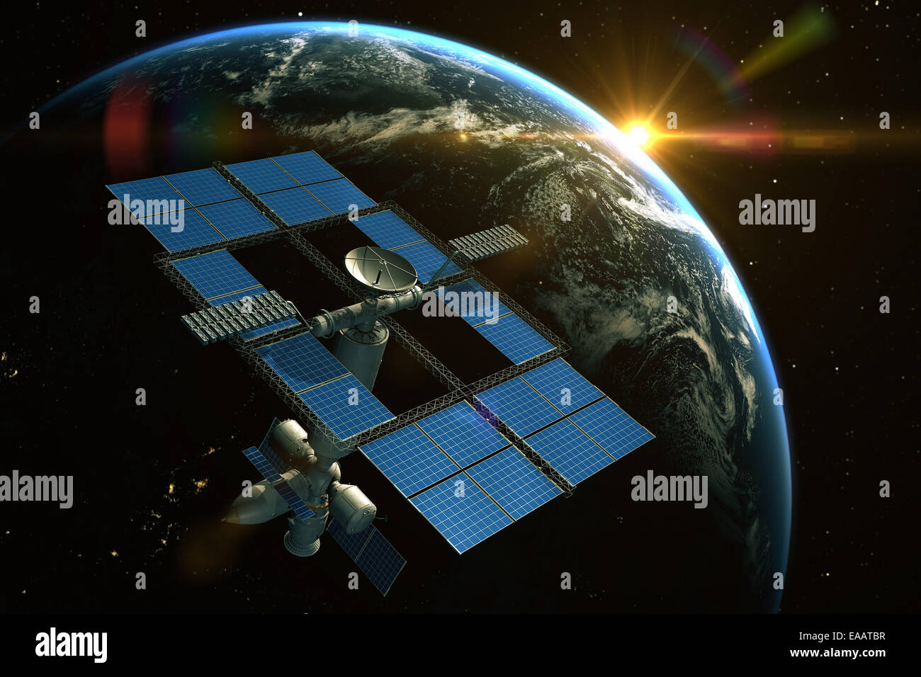 Space Station is orbiting around the Earth - Stock Image