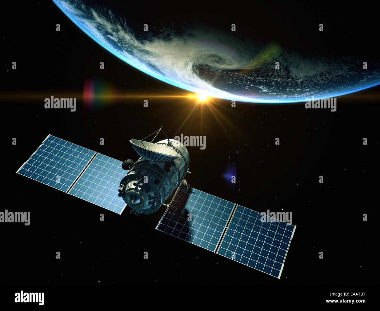 Satellite is orbiting around the Earth - Stock Image