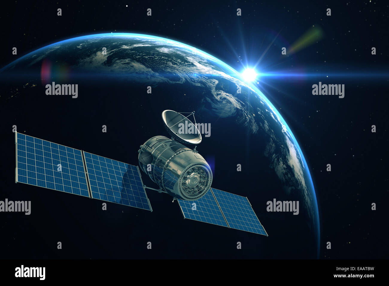 Satellite is orbiting around the Earth - Stock Image