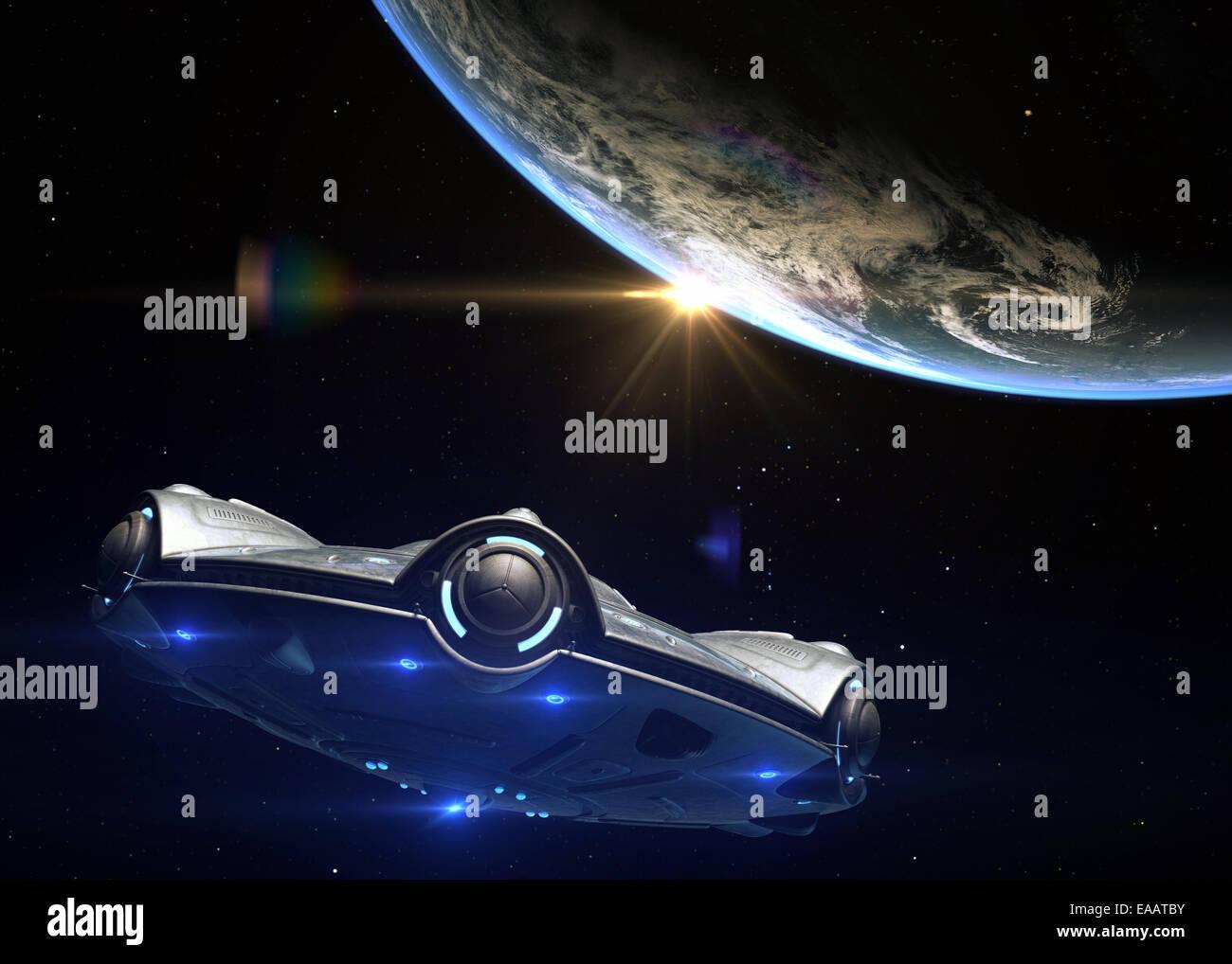 UFO headed toward Earth - Stock Image