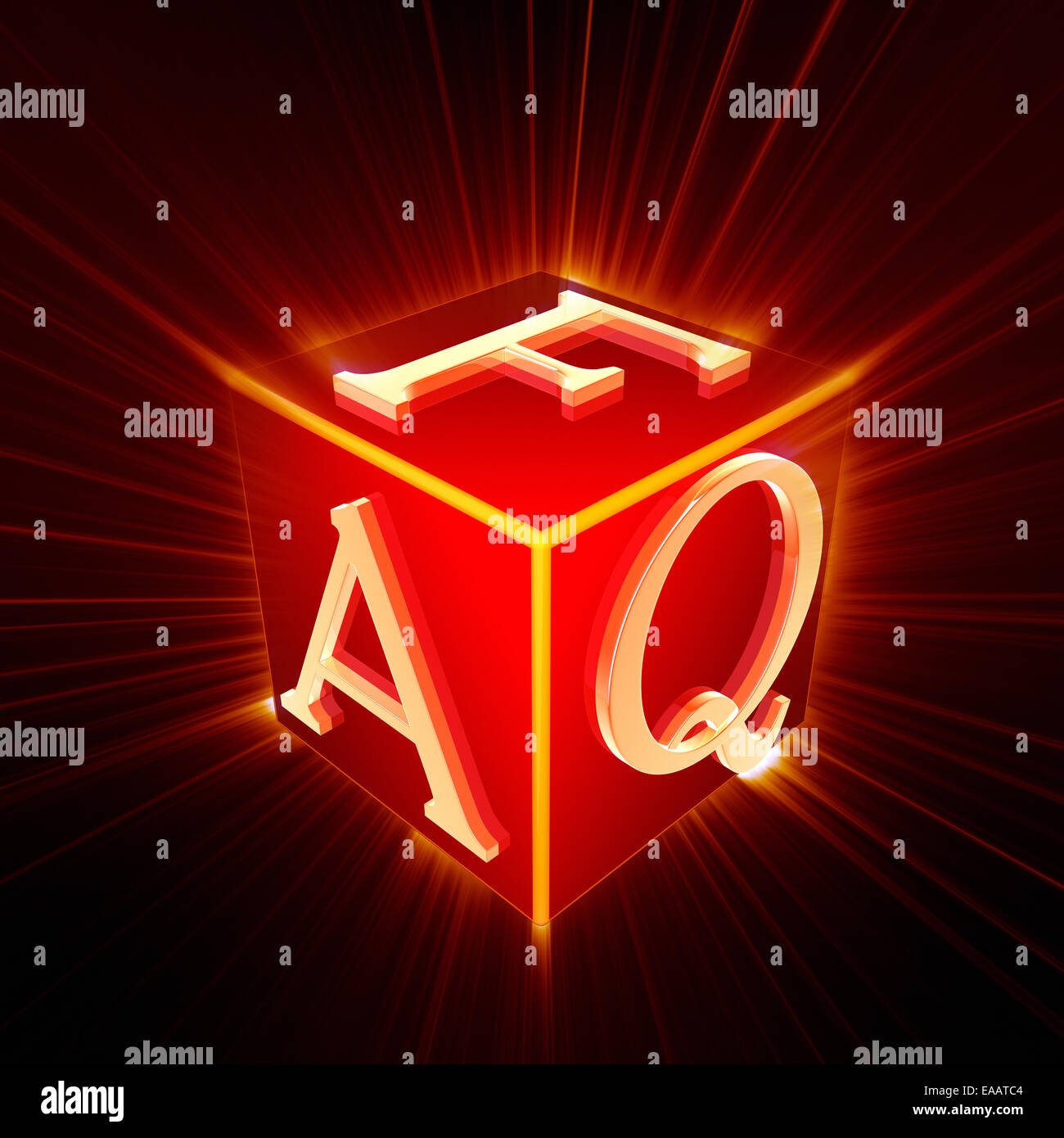 FAQ cube with shine - Stock Image