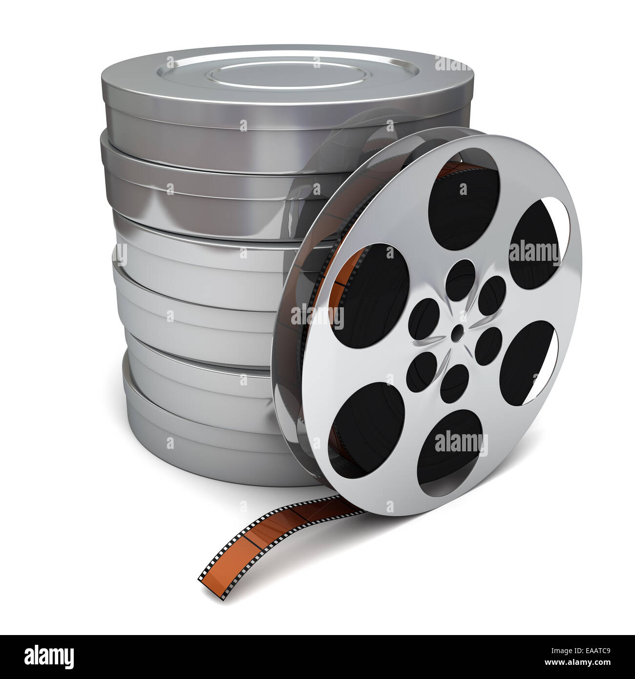 Film reel and canisters on a white background - Stock Image