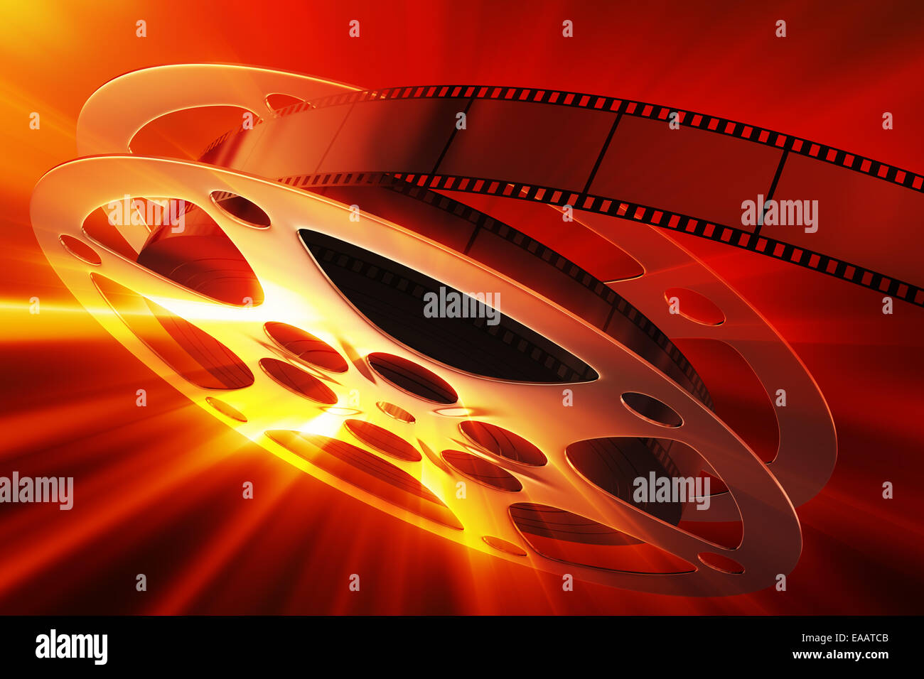 Film reel with magic light - Stock Image