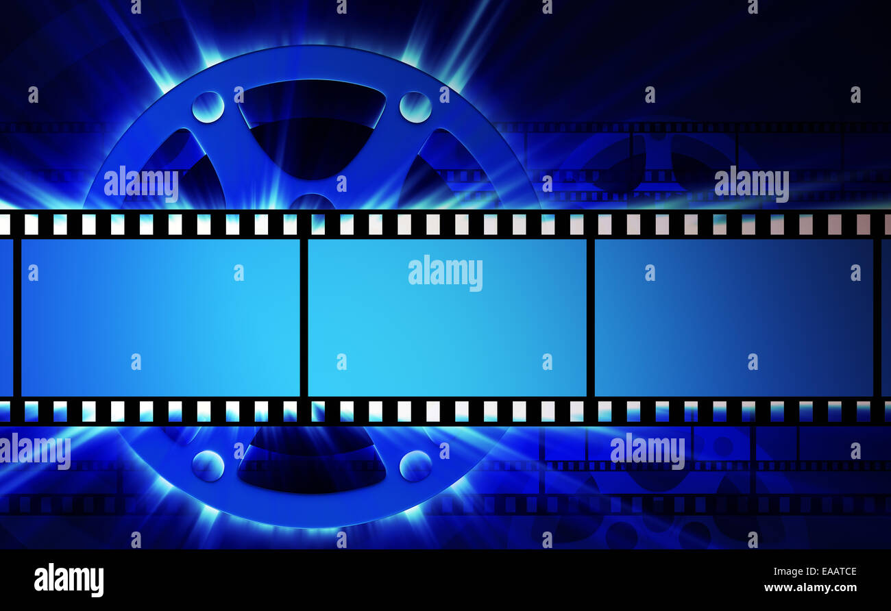 Films and film reel with shine - Stock Image