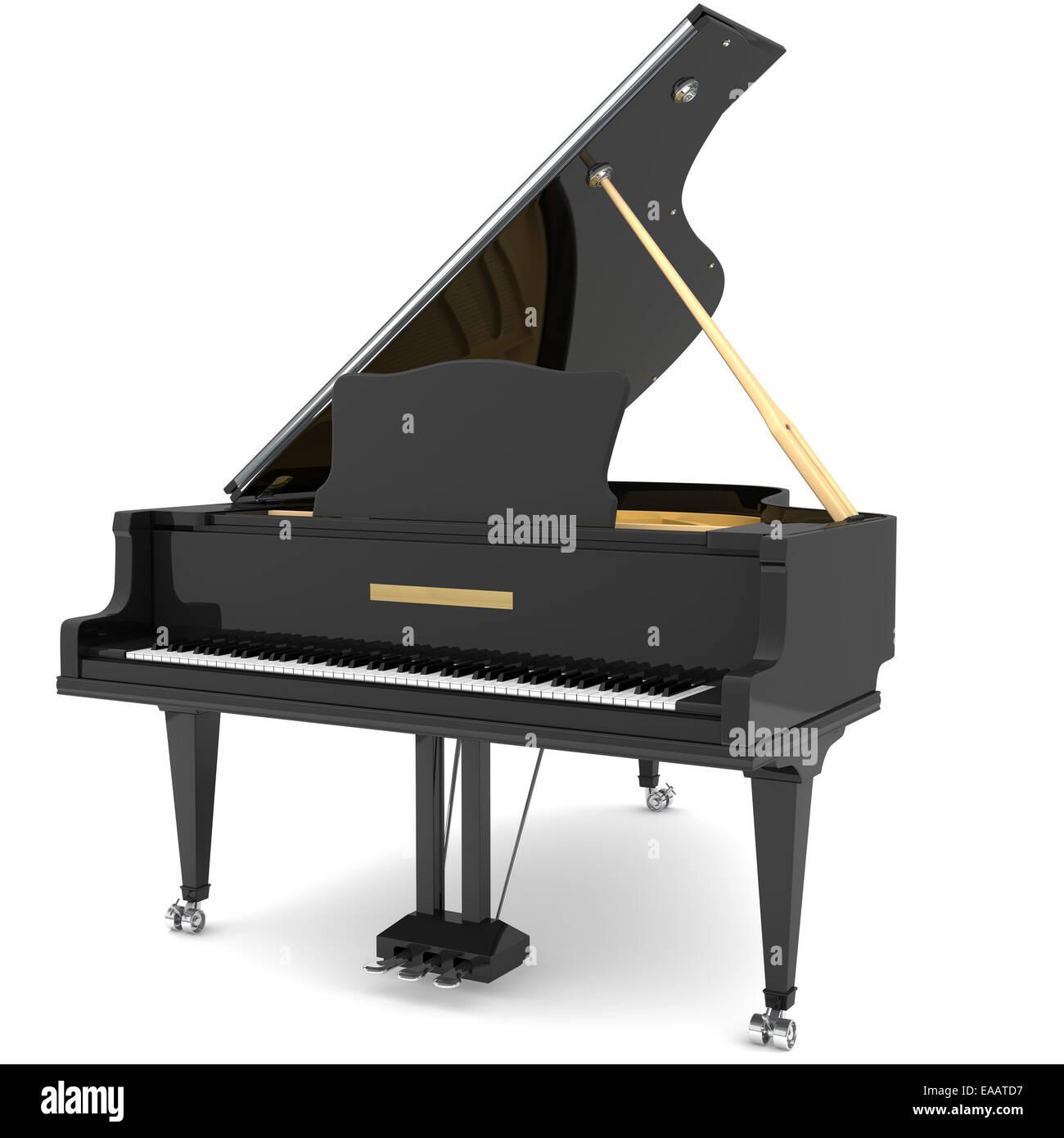 Black grand piano Stock Photo