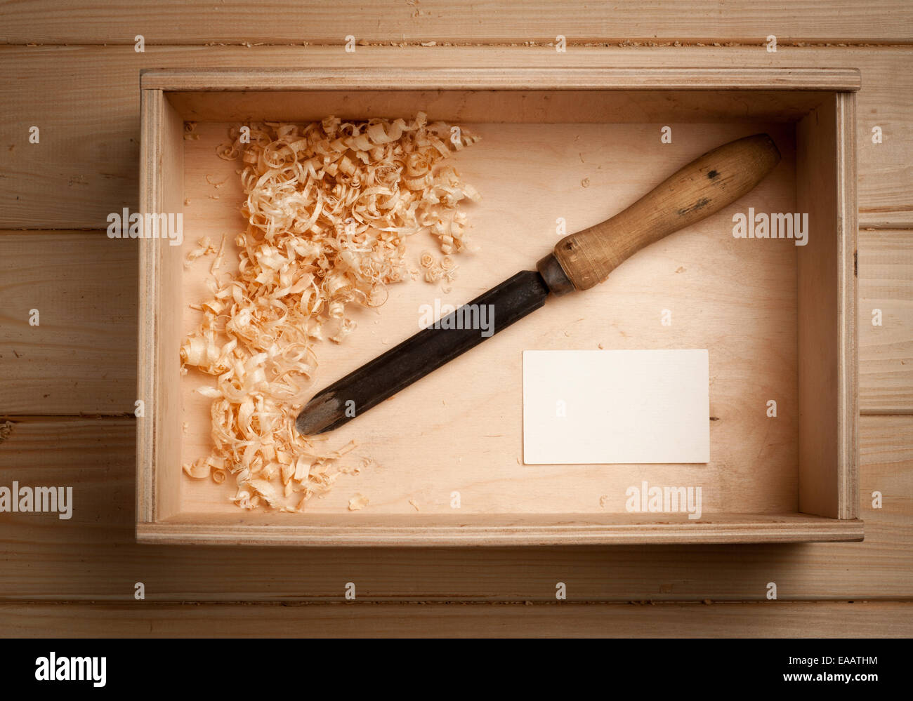 Carpenter tools in wooden box and business card stock photo carpenter tools in wooden box and business card colourmoves