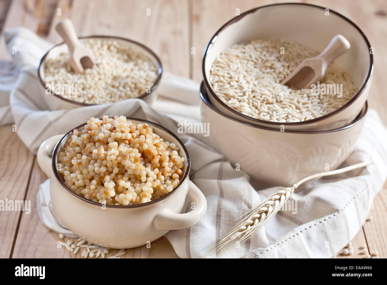 Ptititm or israeli couscous - kind of small pasta, traditional for israelian cuisine. Stock Photo