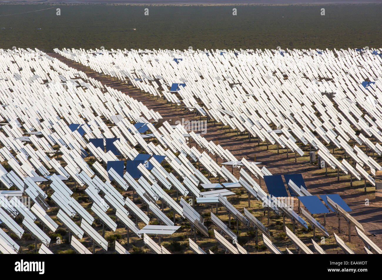The Ivanpah Solar Thermal Power Plant in California''s Mojave Desert is currently the largest solar thermal - Stock Image