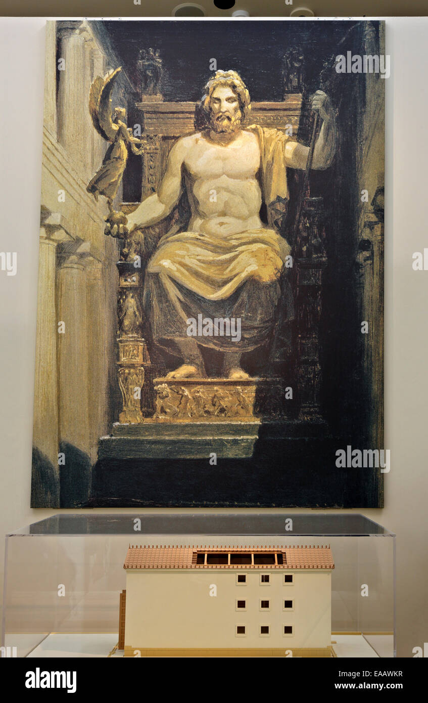 Reconstruction of the gigantic statue of Zeus in the archaeological museum of Ancient Olympia, Ileia, Peloponnese, - Stock Image