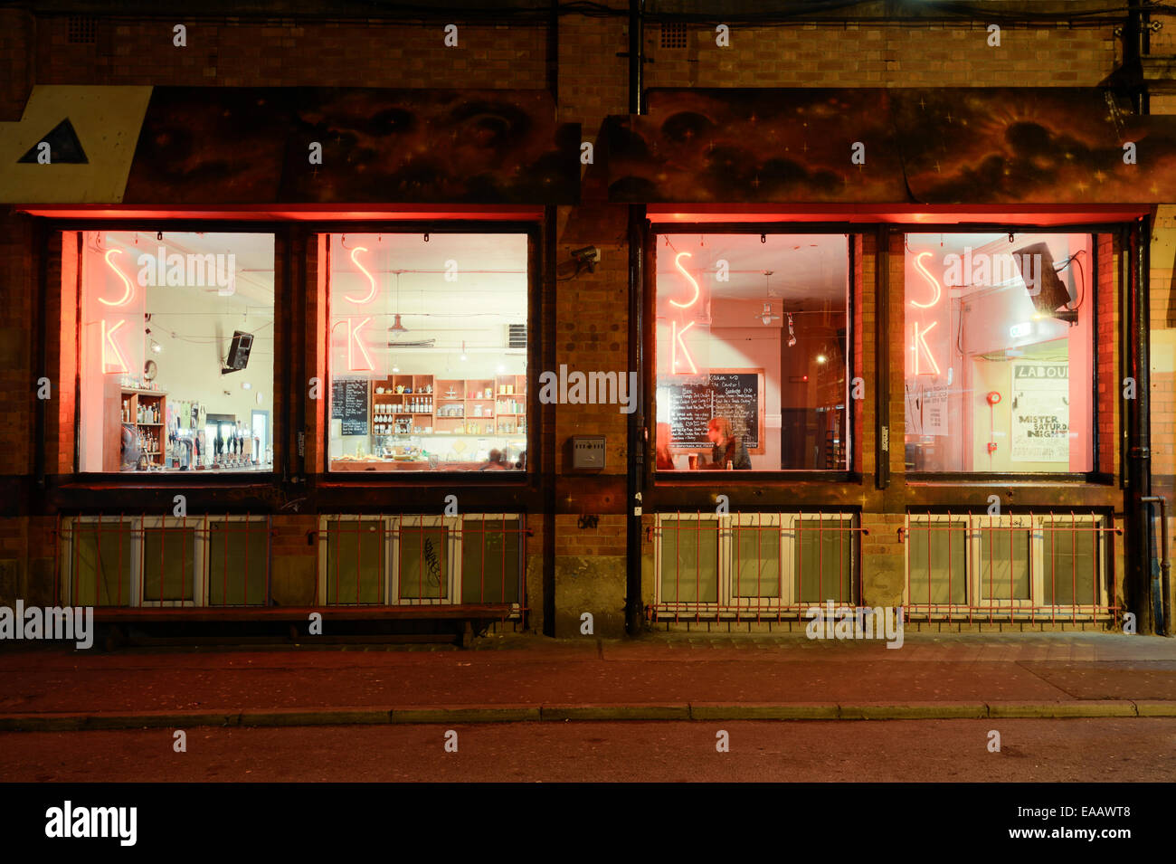 Soup Kitchen Bar located on Spear Street near Stephenson Square in the Northern Quarter of Manchester at night. - Stock Image