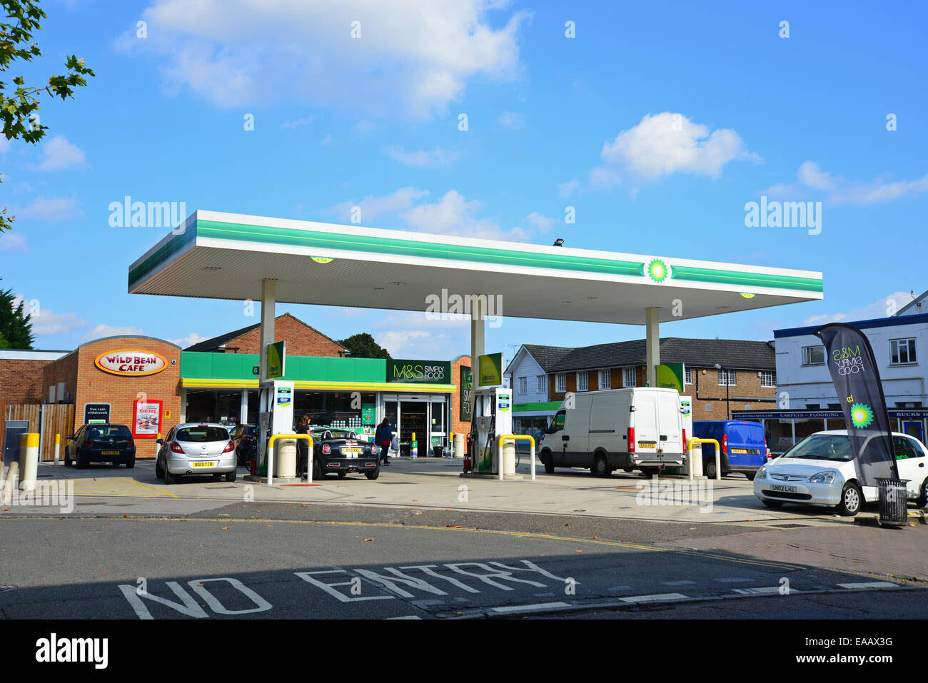 BP Garage with M&S store, The Parade, Bourne End, Buckinghamshire, England, United Kingdom - Stock Image